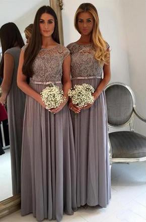 Long Bridesmaid Dress, Chiffon Bridesmaid Dress, Cap Sleeve Bridesmaid Dress, Floor-Length Bridesmaid Dress, Lace Bridesmaid Dress, Simple Design Bridesmaid Dress, LB0666