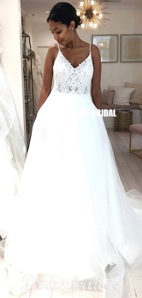 Spaghetti Straps Lace Top Organza Wedding Dresses, Tulle A-Line V-Neck Wedding Dresses, FC676