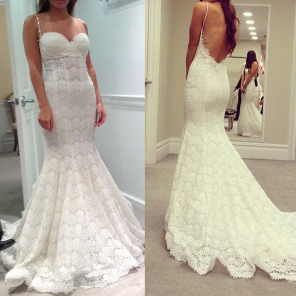 4dcb1ef687 Long Wedding Dress, Spaghetti Straps Wedding Dress, Lace Wedding Dress, Sexy  Bridal Dress