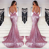 Long Prom Dress, Spaghetti Straps Prom Dress, Sequin Prom Dress, Mermaid Prom Dress, Sexy Prom Dress, Backless Prom Dress, V-Neck Party Dresses, Evening Dresses, LB0681