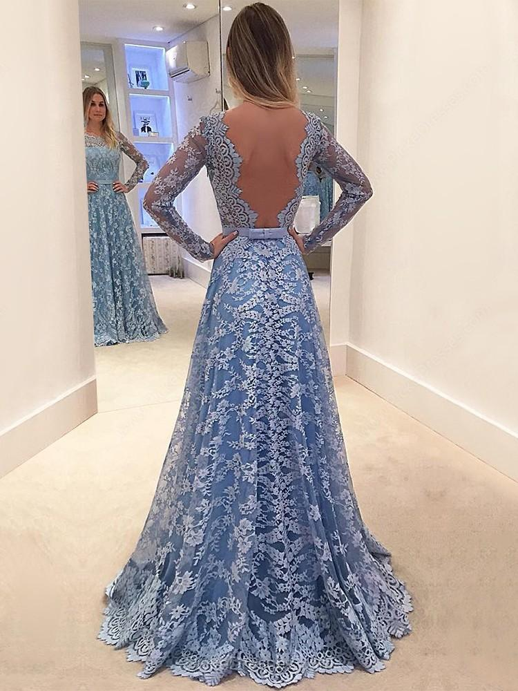 Long Prom Dress, Long Sleeve Prom Dress, Lace Prom Dress, A-Line Prom Dress, Beautiful Prom Dress, Backless Prom Dress, Party Dresses, Evening Dresses, LB0685