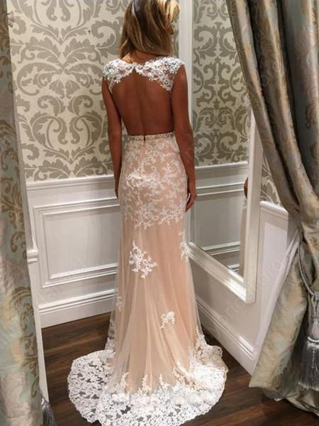 Long Prom Dress, Backless Prom Dress, Lace Prom Dress, Mermaid Prom Dress, Beading Prom Dress, Applique Prom Dress, Party Dresses, Evening Dresses, LB0689