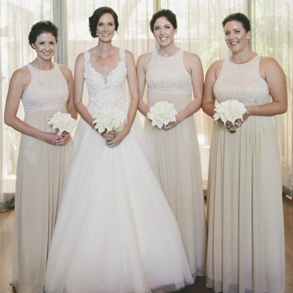 Round Neckline Lace Top Bridesmaid Dress, Chiffon A-Line Sleeveless Bridesmaid Dress, D692