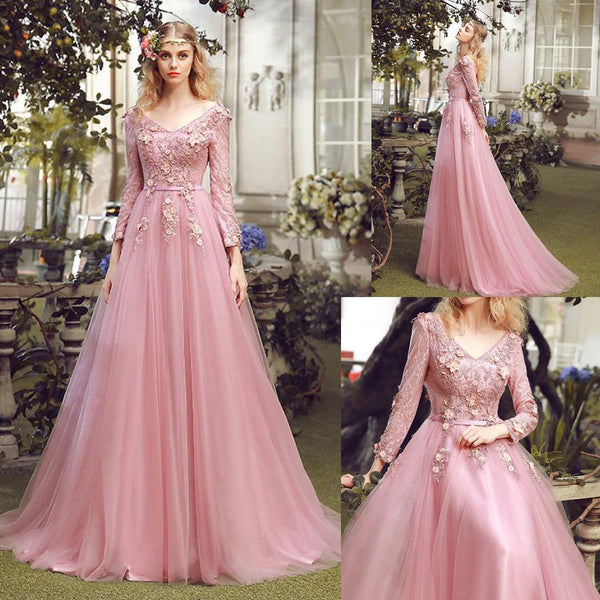 Long Prom Dress, V-Neck Prom Dress, Tulle Prom Dress, A-Line Prom Dress, Long Sleeve Prom Dress, Applique Prom Dress, Party Dresses, Evening Dresses, LB0693
