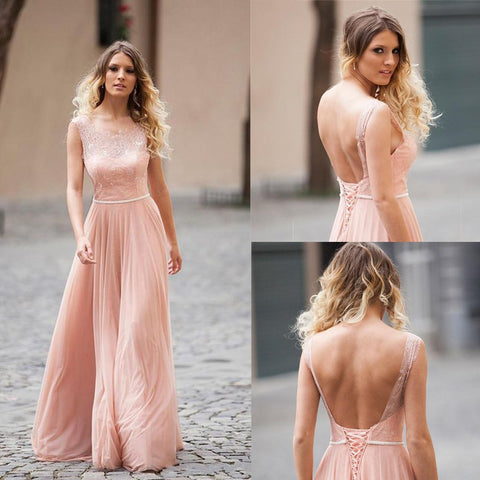 Long Bridesmaid Dress, Backless Bridesmaid Dress, Chiffon Bridesmaid Dress, Dress for Wedding, Lace Bridesmaid Dress, Floor-Length Bridesmaid Dress,Sleeveless Bridesmaid Dress, LB0694