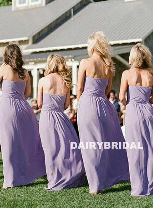 Long Sweet Heart Chiffon Bridesmaid Dress, Cheap Backless Floor-Length Bridesmaid Dress, D695