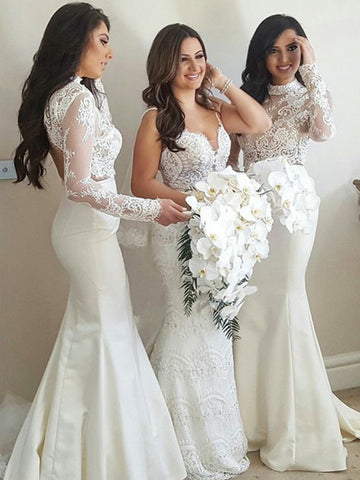 High Neck Lace Top Bridesmaid Dress, Long Sleeve Mermaid Backless Bridesmaid Dress, D698