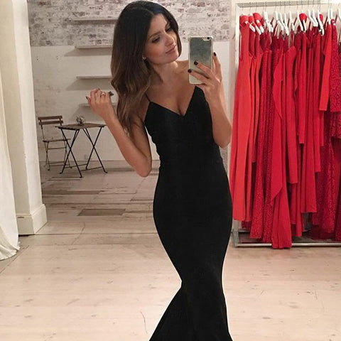 Long Prom Dress, V-Neck Prom Dress, Jersey Prom Dress, Mermaid Prom Dress, Sexy Prom Dress, Backless Prom Dress, Party Dresses, Evening Dresses, LB0717
