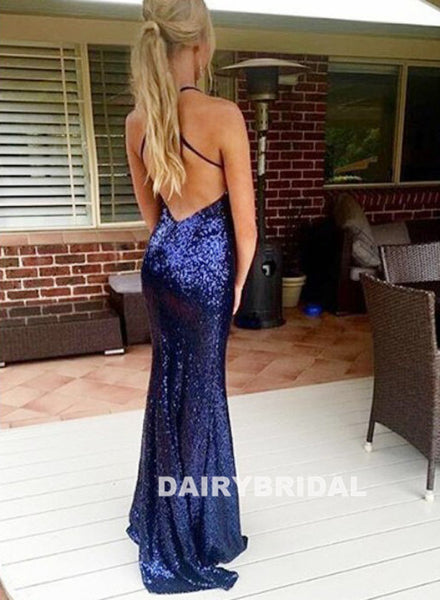 Spaghetti Straps V-Neck Sequin Sexy Backless Mermaid Prom Dress, D724