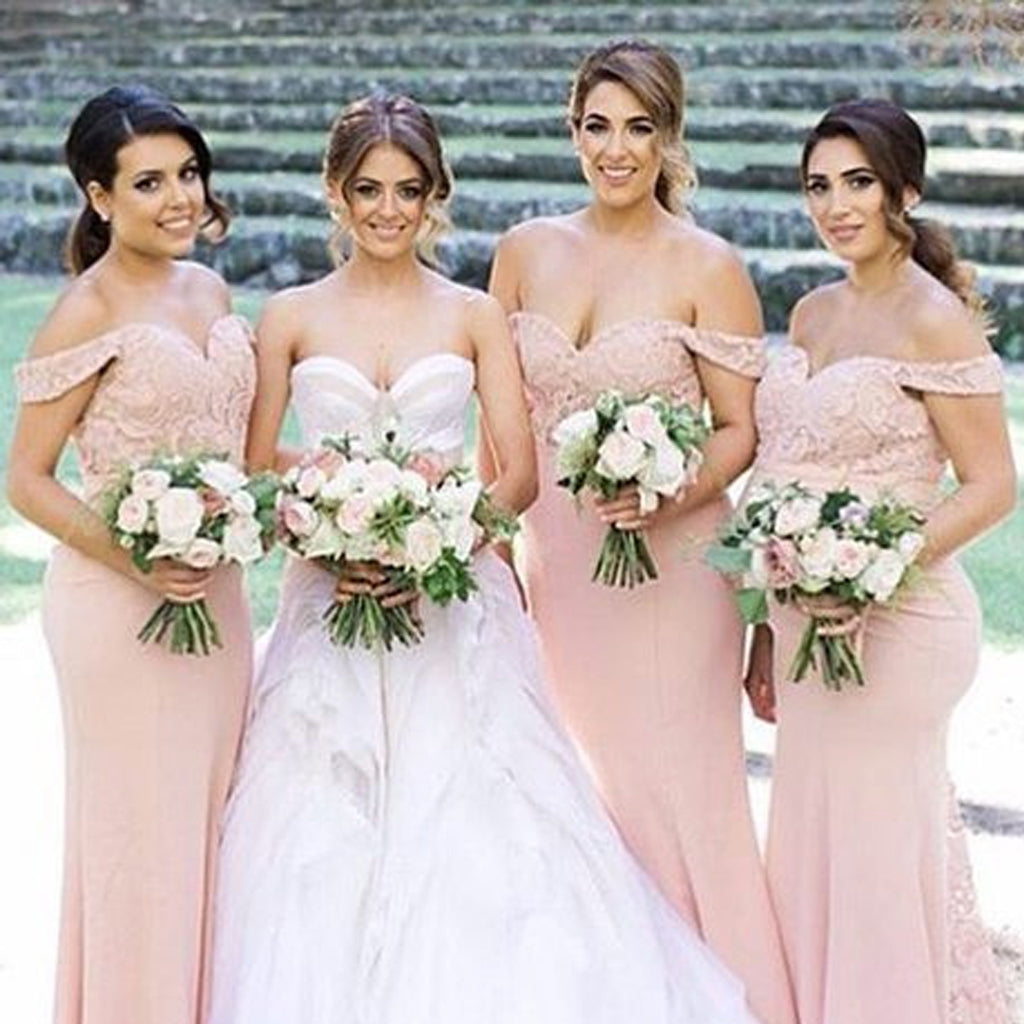 Honest Off Shoulder Bridesmaid Dress, Pink Lace Mermaid Bridesmaid Dress, D740