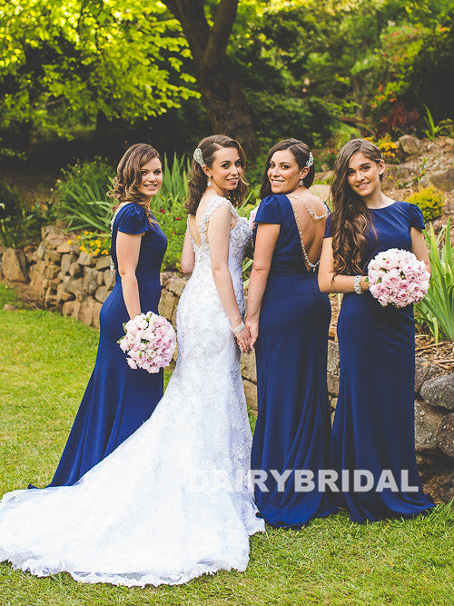 Charming Round Neckline Bridesmaid Dress, Backless Mermaid Bridesmaid Dress, D747
