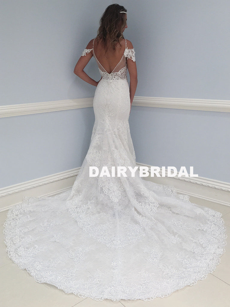 Mermaid Lace V-Neck Wedding Dress, V-Back Tulle Wedding Dress, D748