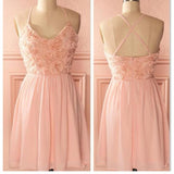 peach pink spaghetti strap simple mini freshman homecoming prom bridesmaid dress,BD0074