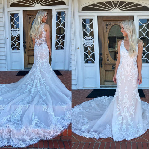 Charming V-Neck Sleeveless Wedding Dress, Lace Mermaid Vintage Wedding Dress, D753
