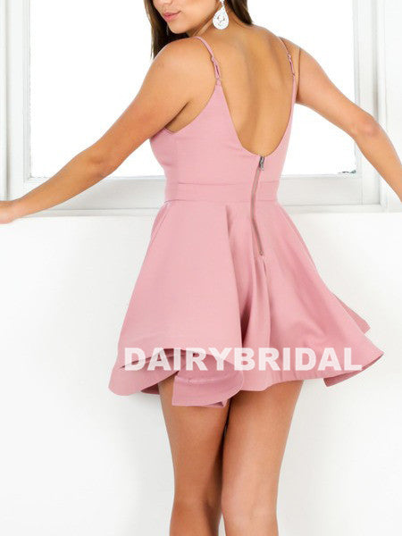 Above-Knee Pink Homecoming Dress, V-Neck Backless Adorable Homecoming Dress, D758