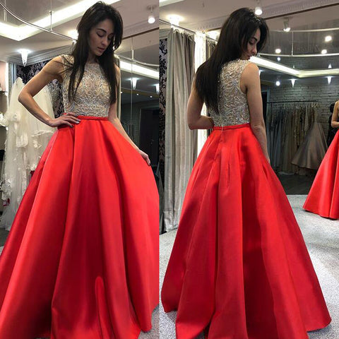 Beaded Top Sleeveless Prom Dress, Charming Red Satin Prom Dress, D769