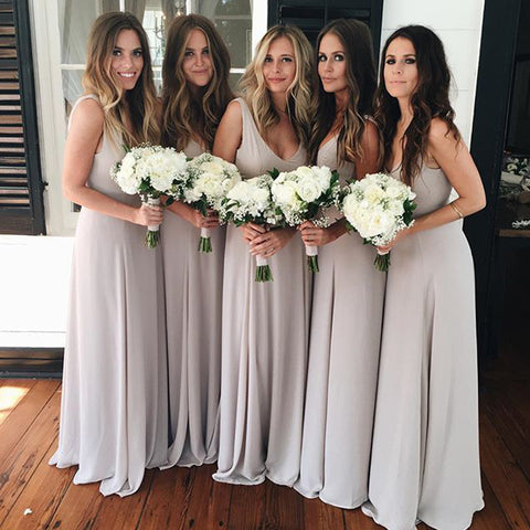 Long Bridesmaid Dress, V-Back Bridesmaid Dress, Chiffon Bridesmaid Dress, Dress for Wedding, Sleeveless Bridesmaid Dress, Floor-Length Bridesmaid Dress, DA770