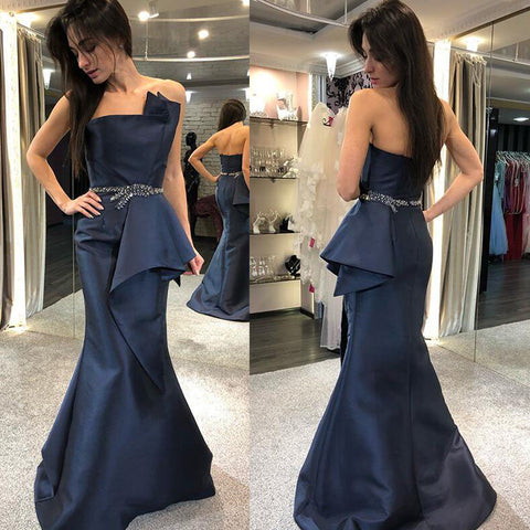 Satin Mermaid Backless Prom Dress, Charming Beaded Prom Dress, D771