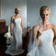 Elegant Long Satin Wedding Dress, Charming White Mermaid Wedding Dress, D784