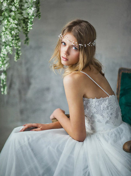 Long Wedding Dress, Tulle Wedding Dress, Spaghetti Straps Wedding Dress, A-Line Bridal Dress, Gorgeous Wedding Dress, Applique Bridal Dress, Backless Wedding Dress, LB0800