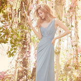 Long One-Shoulder Chiffon Floor-Length backless Bridesmaid Dress, LB0802