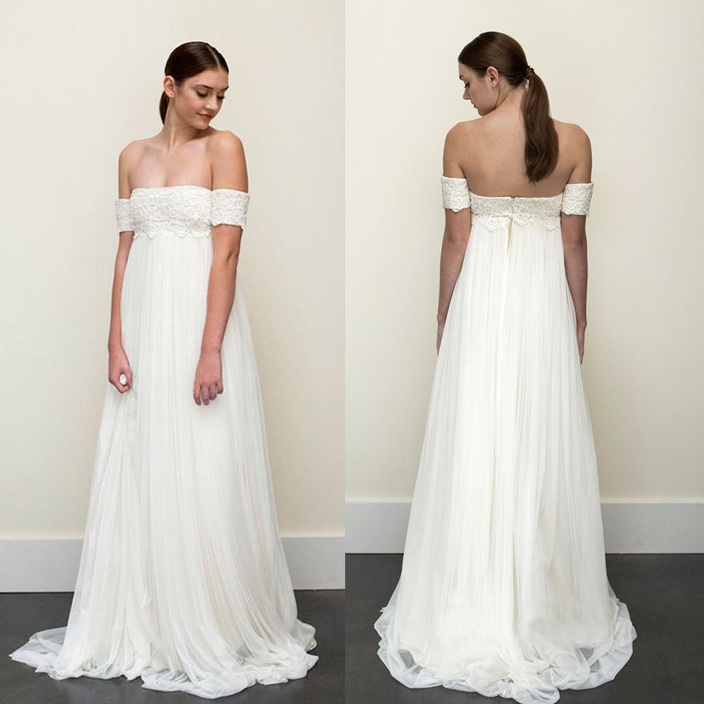 New Arrival Off Shoulder Lace Wedding Dress, Charming Tulle A-Line Backless Wedding Dress, D808