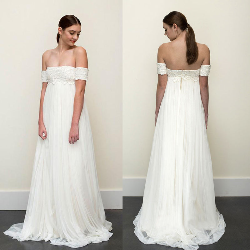 New Arrival Off Shoulder Lace Wedding Dress, Charming Tulle A-Line ...