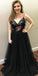 Spaghetti Straps A-Line Tulle Backless Applique Prom Dresses, FC811