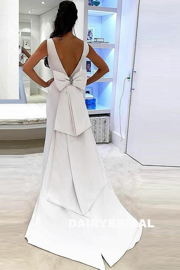 Satin Mermaid V-Neck Wedding Dress, Charming Backless Wedding Dress, D819