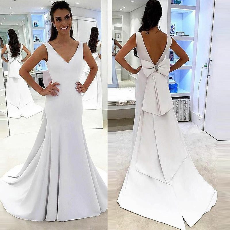 Satin Mermaid V-Neck Wedding Dress, Charming Backless Wedding Dress ...