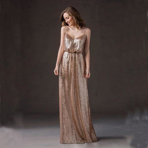 Spaghetti Straps Sequin Bridesmaid Dress, Backless V-Neck Bridesmaid Dress, D81