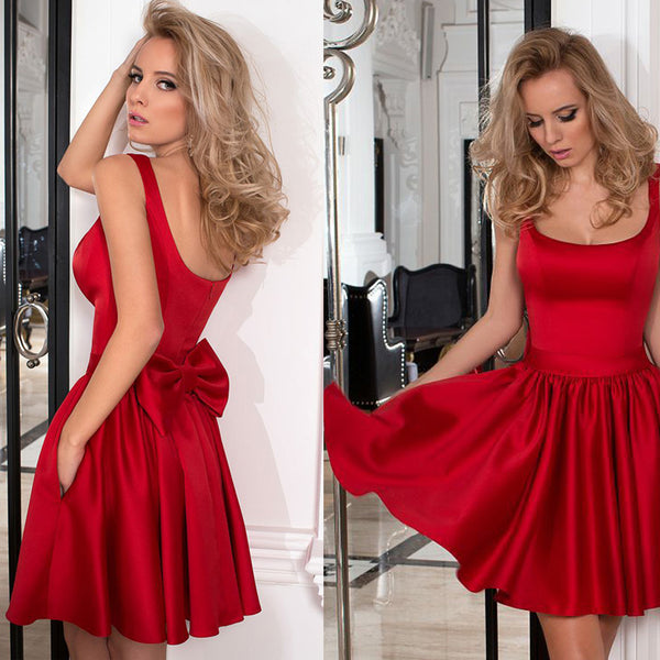 Red Satin A-Line Homecoming Dress, Backless Short Homecoming Dress, D824