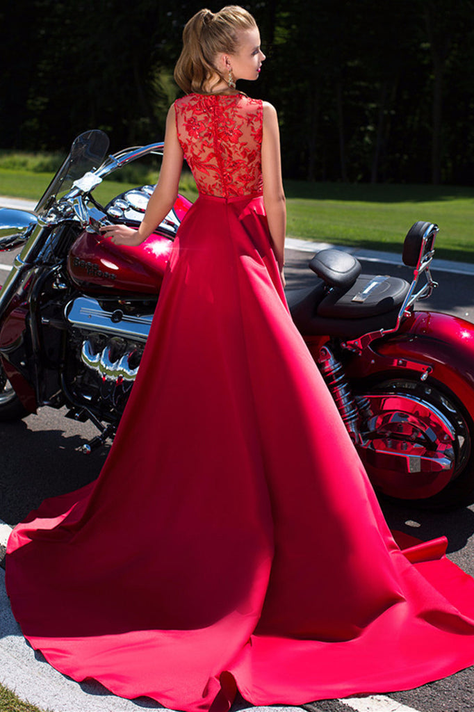 Long Prom Dresses, Satin Prom Dresses, Deep V-Neck Prom Dresses, Lace Prom Dresses Online, Sleeveless Prom Dress, Red Prom Dress, DA828