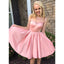 Simple A-line Sleeveless V-back Satin Homecoming Dress, FC828