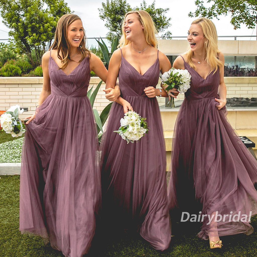Long Bridesmaid Dress, Tulle Bridesmaid Dress, Spaghetti Straps Bridesmaid Dress, V-Neck Bridesmaid Dress, Cheap Bridesmaid Dress, Floor-Length Bridesmaid Dress, DA853