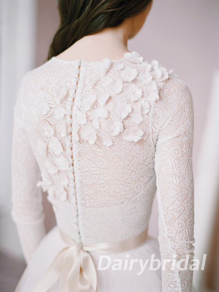 Long Sleeve Wedding Dress, Tulle Wedding Dress, Lace Wedding Dress, Charming Bridal Dress, Applique Wedding Dress, DA867