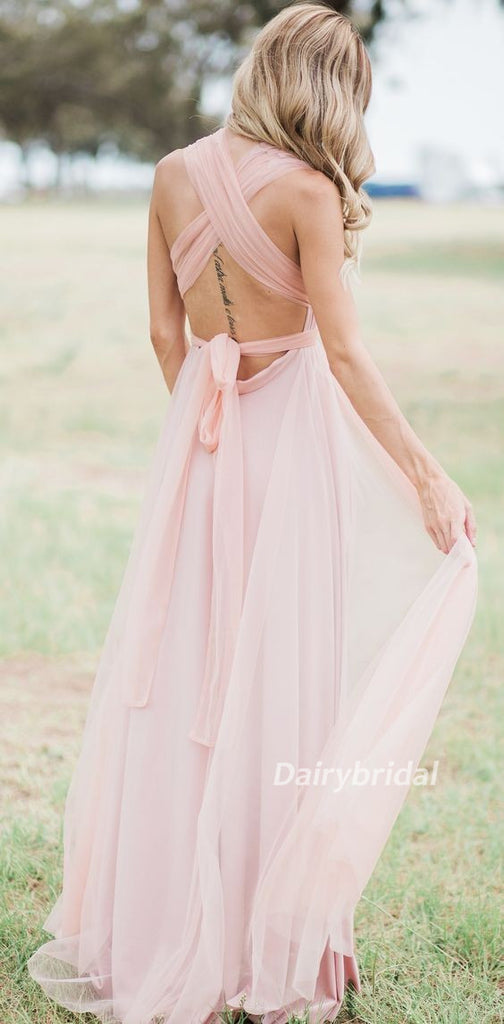 Convertible Bridesmaid Dress, Tulle Bridesmaid Dress, Backless Bridesmaid Dress, Cheap Bridesmaid Dress, Pink Bridesmaid Dress, DA875