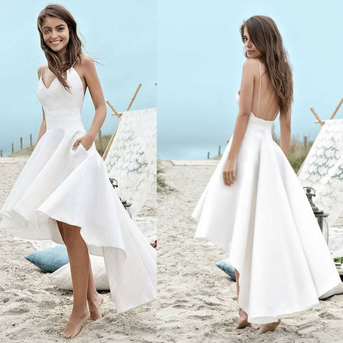 White Spaghetti Straps A-Line Homecoming Dress, High-Low Backless Homecoming Dress, D876