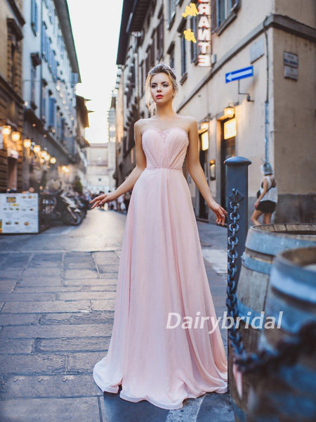 Tulle Prom Dress, Pink Prom Dress, Chiffon Prom Dress, Open-Back Prom Dress, Simple Design Prom Dress, DA887