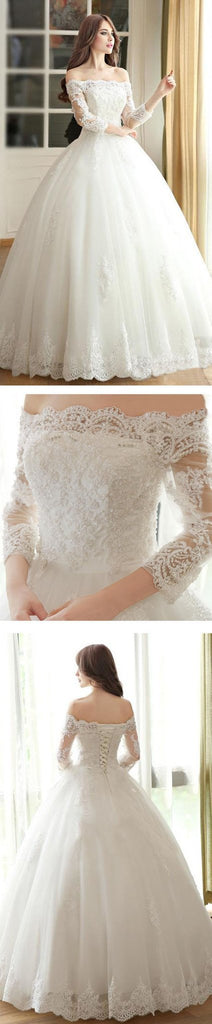 Vantage Off Shoulder Long Sleeve White Lace Wedding Dresses, Lace Up Bridal Gown, WD0009