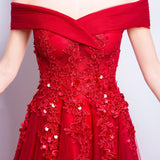 Off the Shoulder Sequin Applique Charming Prom Dresses, Red Beaded A-Line Prom Dresses, 220010