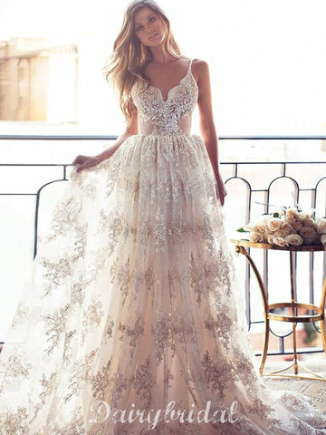 Charming Lace Backless Wedding Dresses, Unique Tulle Wedding Dresses, D903