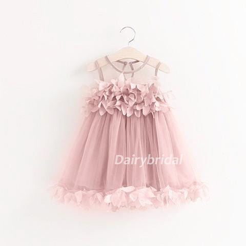Pink Sleeveless Tulle Popular Tulle Flower Girl Dresses, Cheap Little Girl Dresses,  DA904