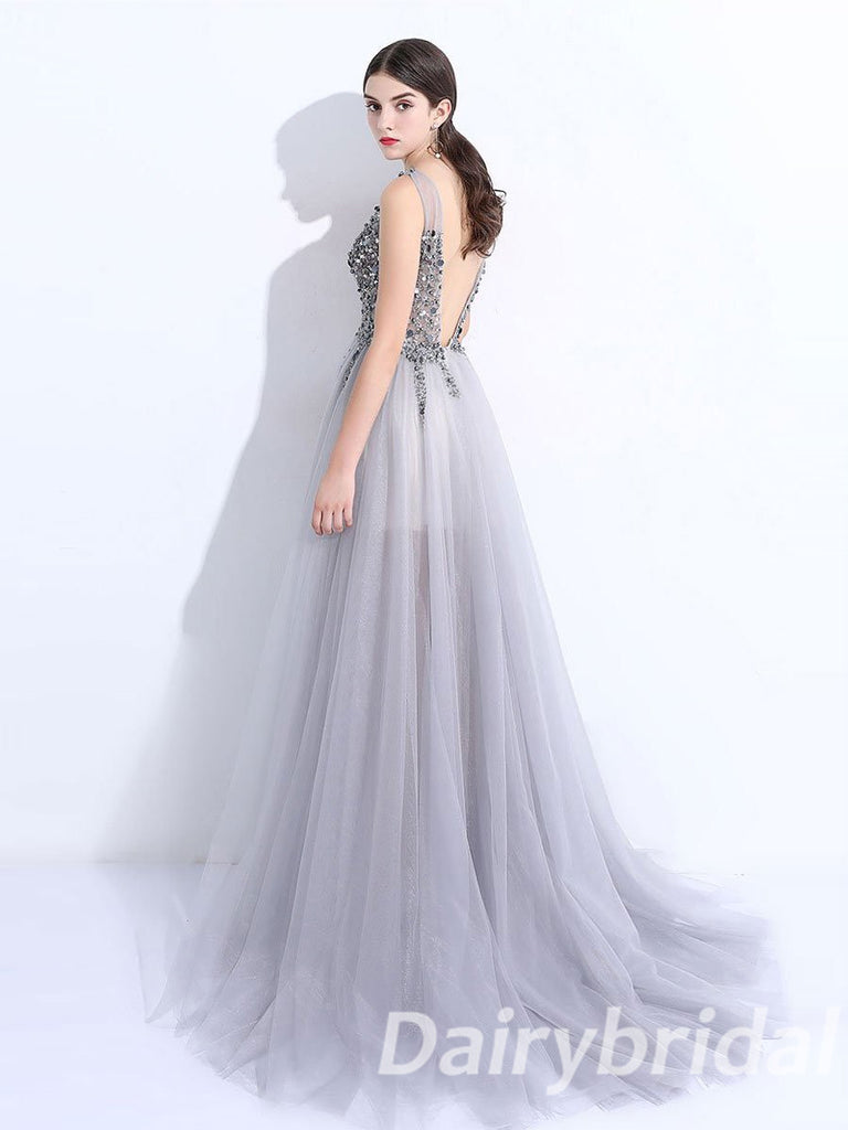 V-Neck Prom Dress, Tulle Prom Dress, Beading Prom Dress, A-Line Prom Dress, Split Prom Dress, V-Back Prom Dress, DA906