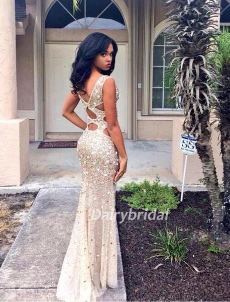 Sleeveless Prom Dress, Tulle Prom Dress, Beading Prom Dress, Sexy Prom Dress, Side Split Prom Dress, DA908