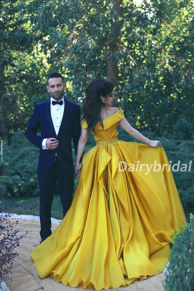 Off the Shoulder Prom Dress, Soft Satin Prom Dress, Beading Prom Dress, Yellow Prom Dress, A-Line Prom Dress, DA914