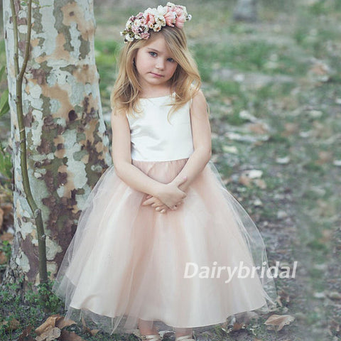 Satin Top Tulle Sleeveless Flower Girl Dresses, Lovely Tutu Dresses,  DA918