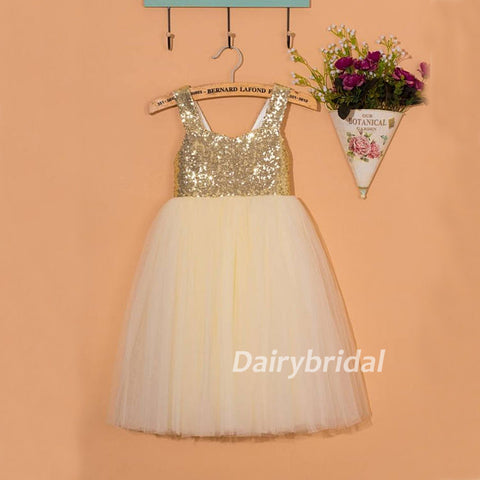 Sequin Tulle Flower Girl Dresses With Bowknot, Lovely Cute Tutu Dresses, DA922