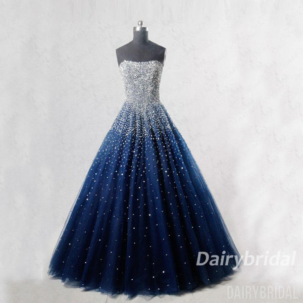 Sparkle Prom Dress, Sweet Heart Sequin Prom Dress, A-Line Prom Dress, Tulle Beaded Prom Dress, DA924