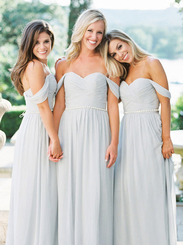 Off Shoulder Bridesmaid Dress, Chiffon Bridesmaid Dress, Sweet Heart Bridesmaid Dress, Pale Blue Bridesmaid Dress, Cheap Bridesmaid Dress, DA937